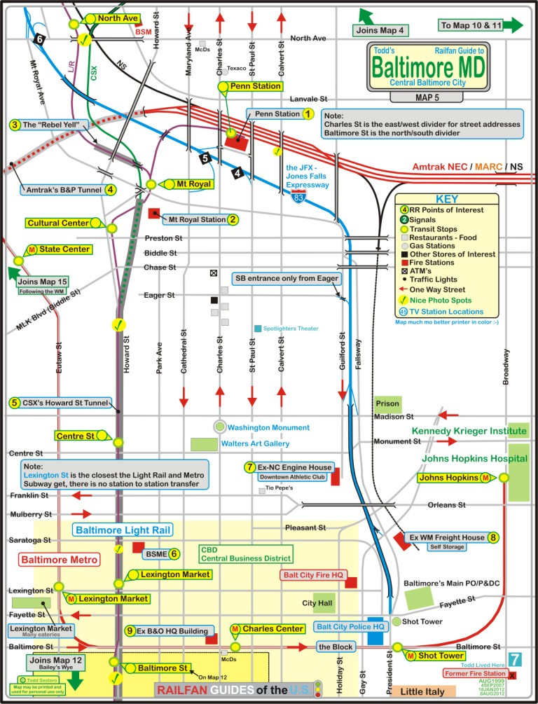 Amtrak Nc Map.Baltimore Railfan Guide North Central Baltimore Map