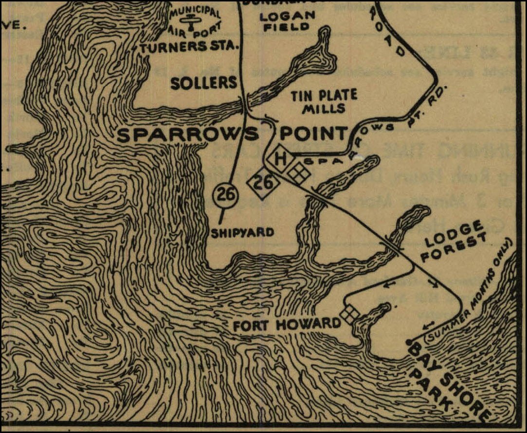 The 26 Line Into Sparrows Point And Bay S And The Whole System Map