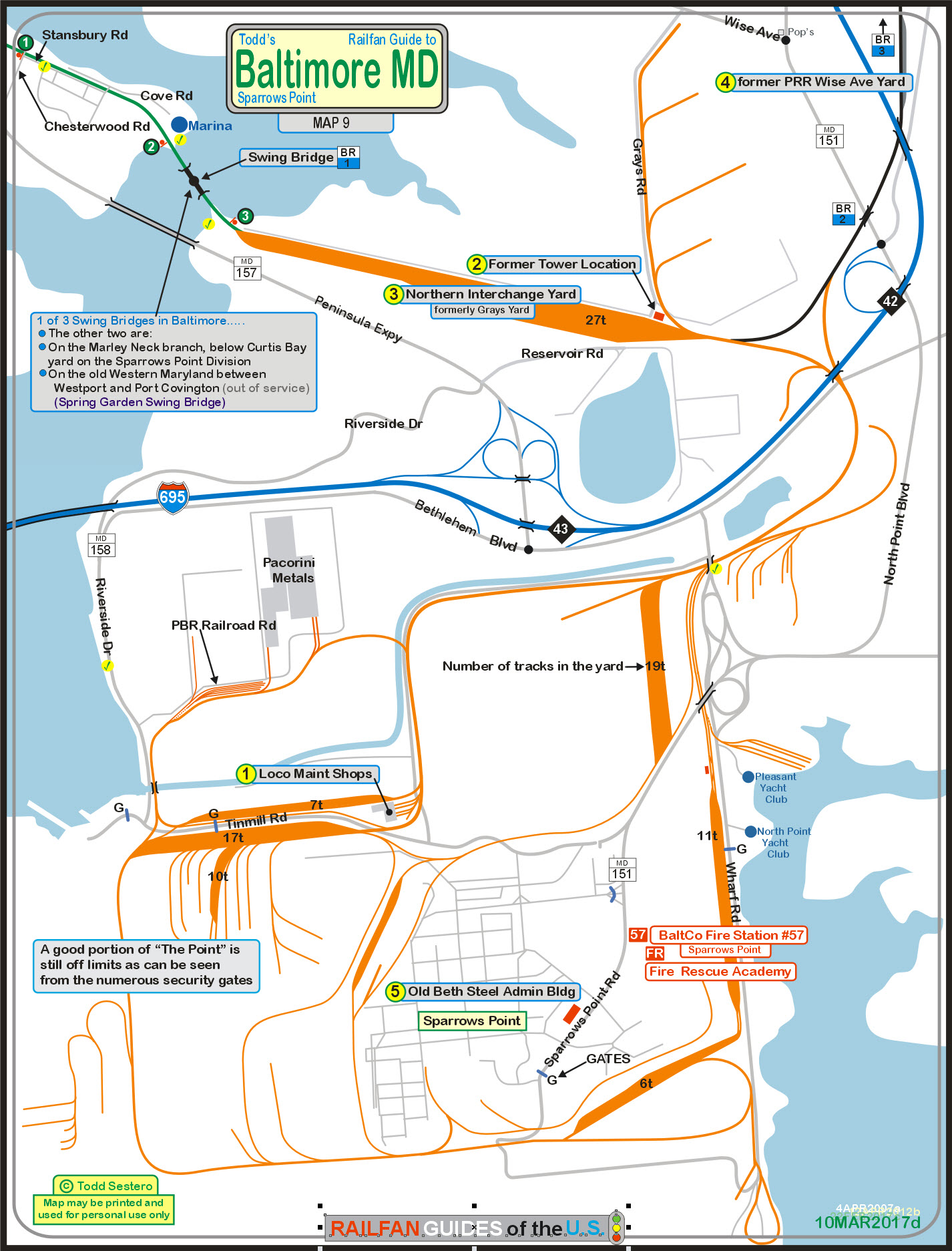 Baltimore Railfan Guide Map Of The SouthEastern Side Of Baltimore - Baltimore on us map