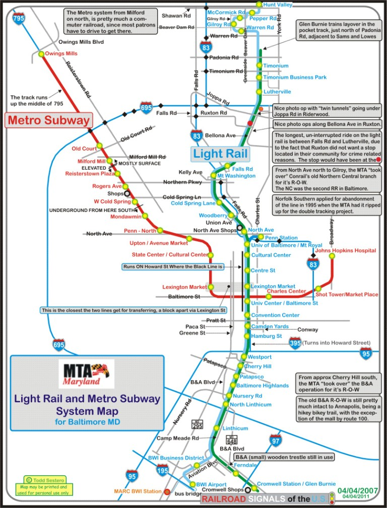 baltimore light rail system map gallery
