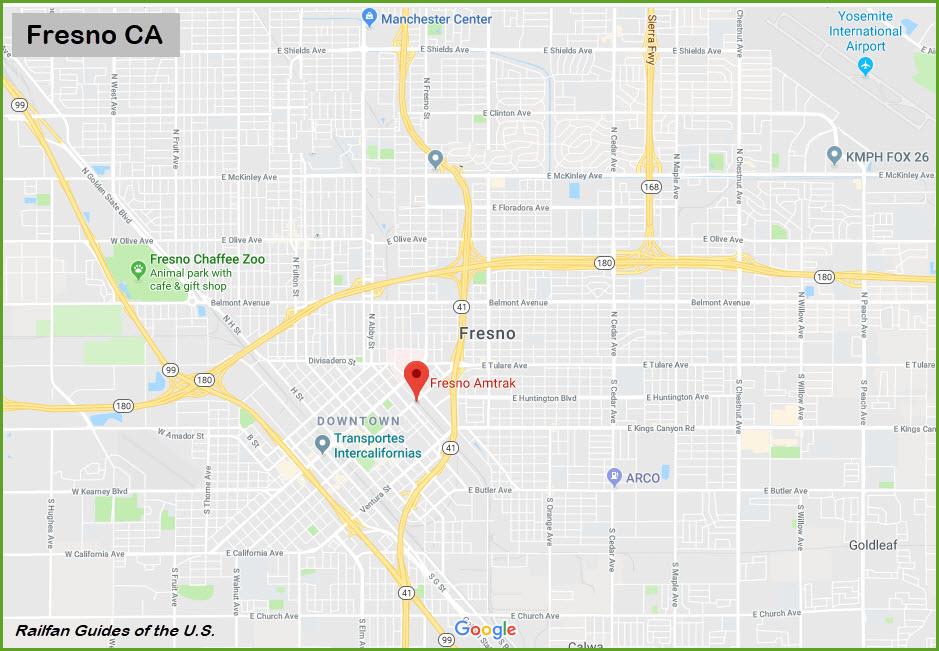 Map Of California Fresno.Fresno Ca Amtrak Station Railfan Guide