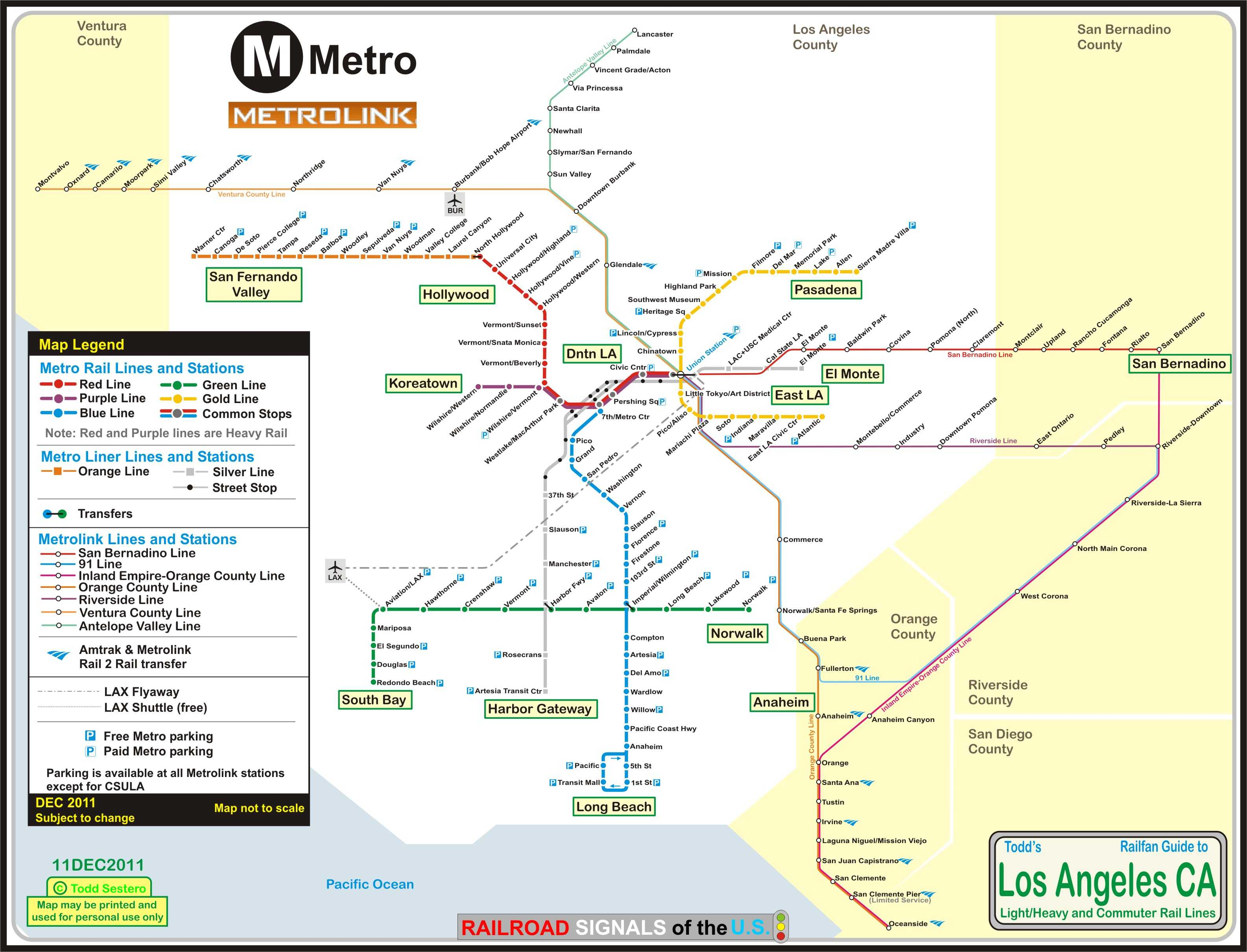 Los Angeles CA Light And Heavy Rail Systems - Los angeles metro expansion map