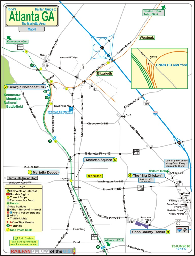 Marietta GA And The GNRR Atlanta GA Railfan Guide RSUS - Atlanta to nashville rail on map of us