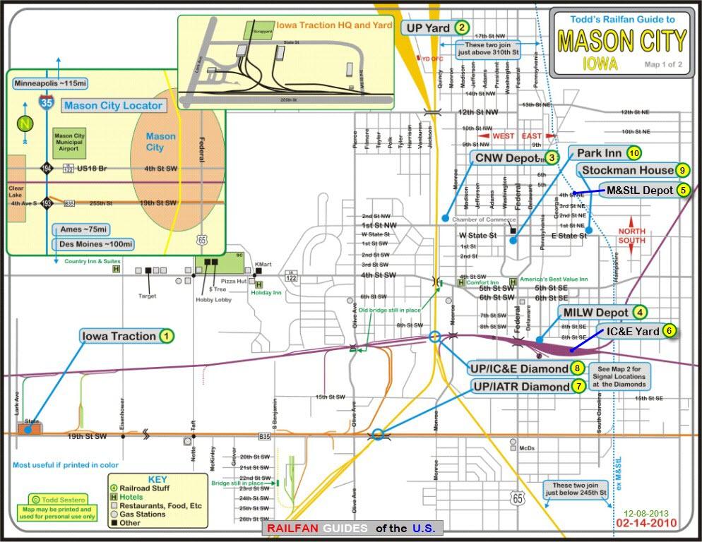 map of mason city iowa Mason City Ia Railfan Guide map of mason city iowa