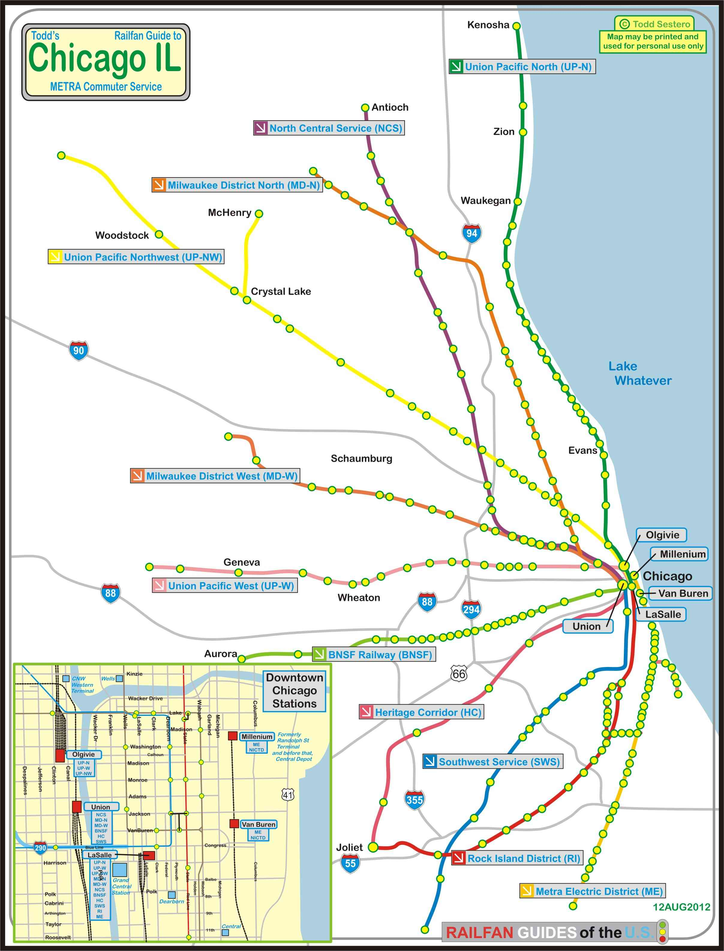 Chicago Train Map Metra Chicago Map