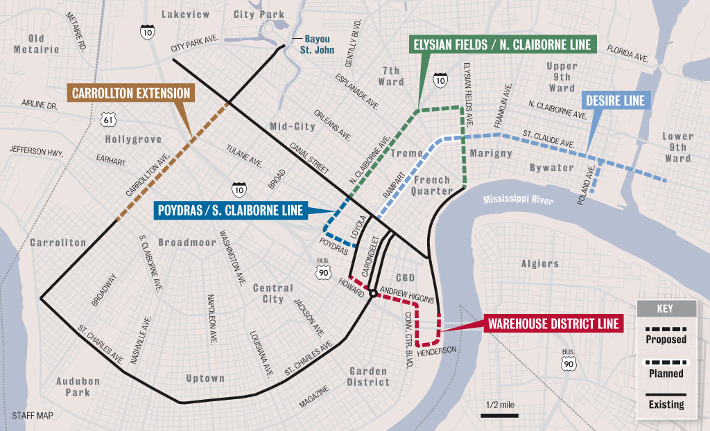 trolley new orleans map New Orleans Streetcars
