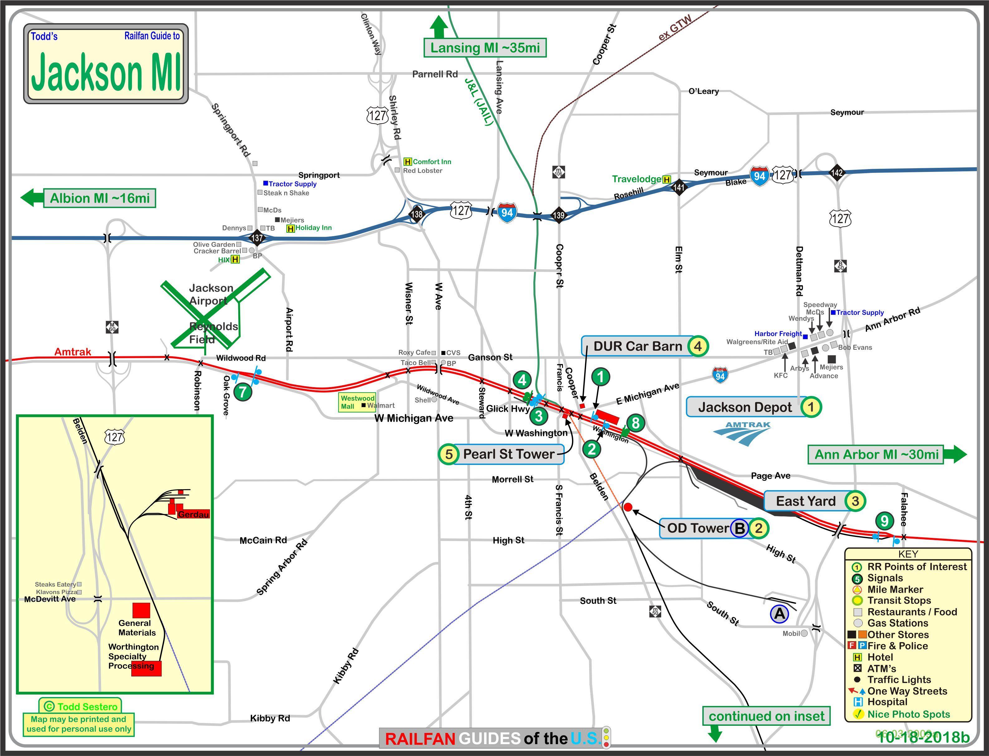 Jackson Mi Railfan Guide - Us-127-michigan-map