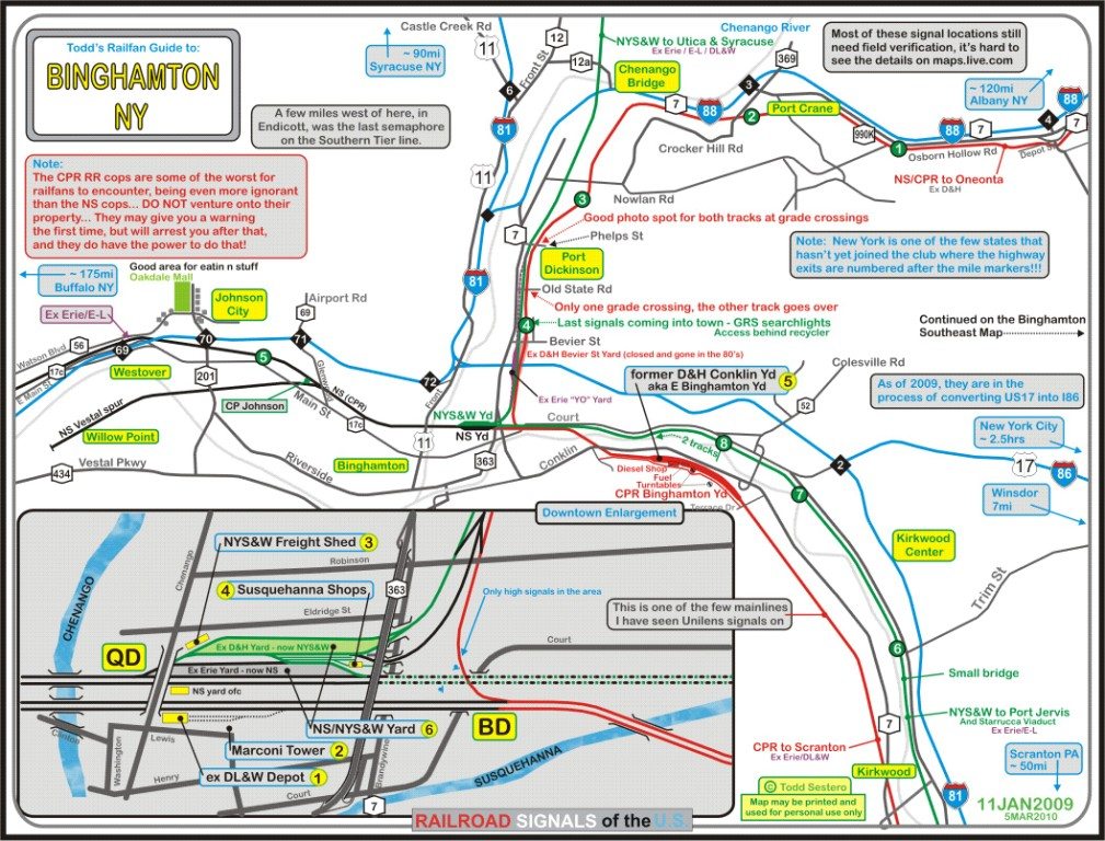 Binghamton NY Railfan Guide Downtown