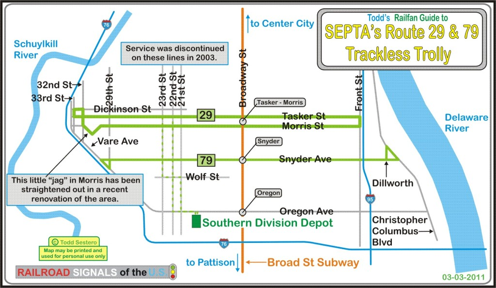 the current map for bus route 29 south philadelphia crosstown slightly different than the trackless trolley routing