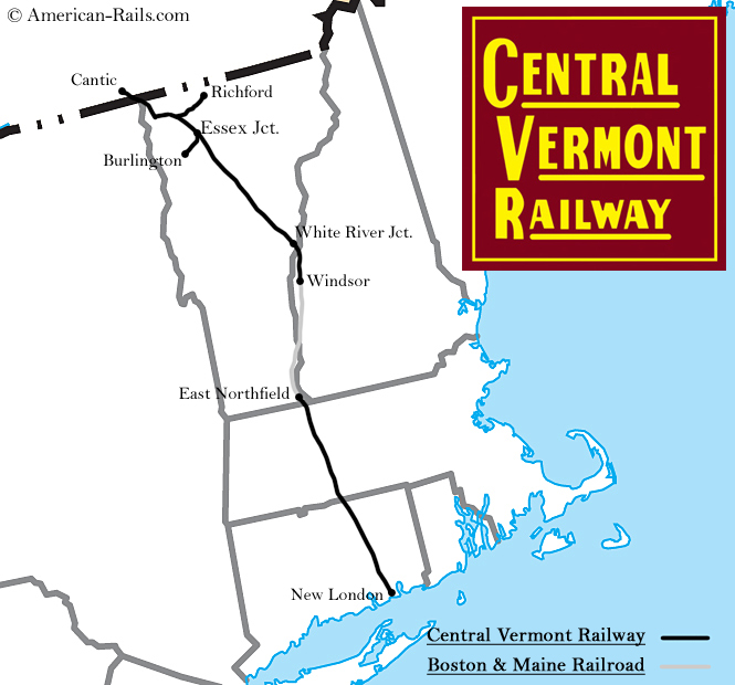 Central Vermont Rwy System Map: Map Of Central Vermont At Usa Maps