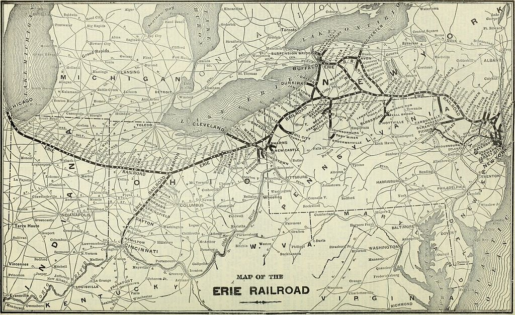 The Erie Railroad System Map - Us railroad map 2016 ohio