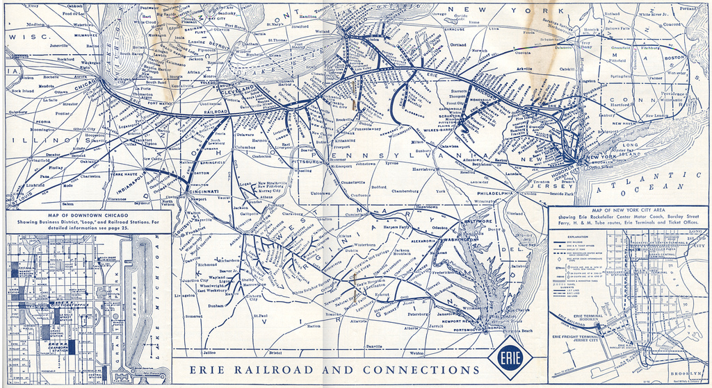 The Erie Railroad System Map - Map of the railroad system in the us