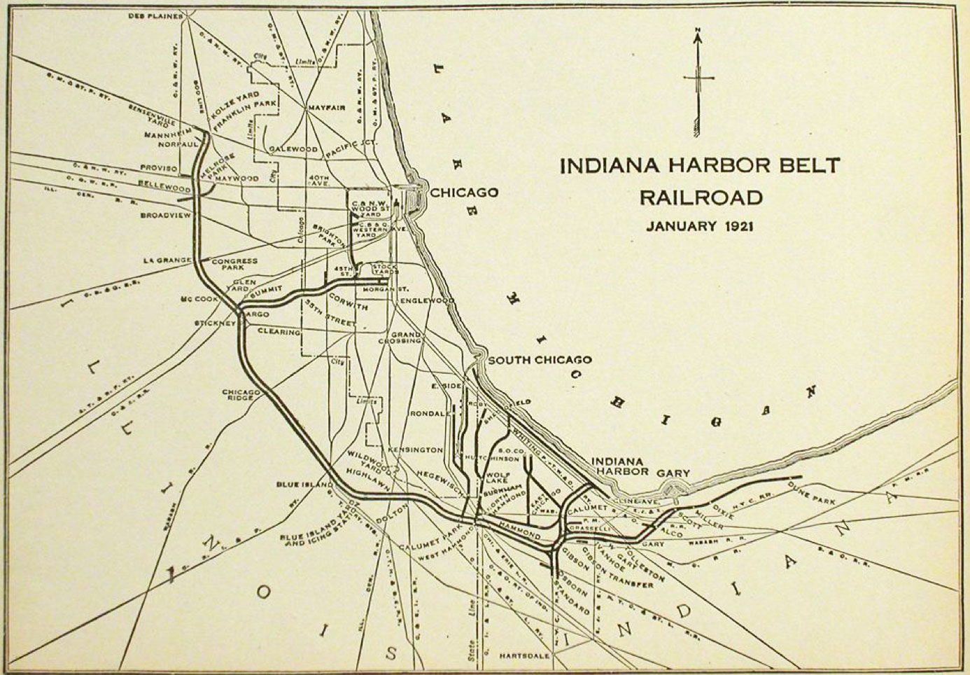 The Indiana Harbor Belt Railroad System Map
