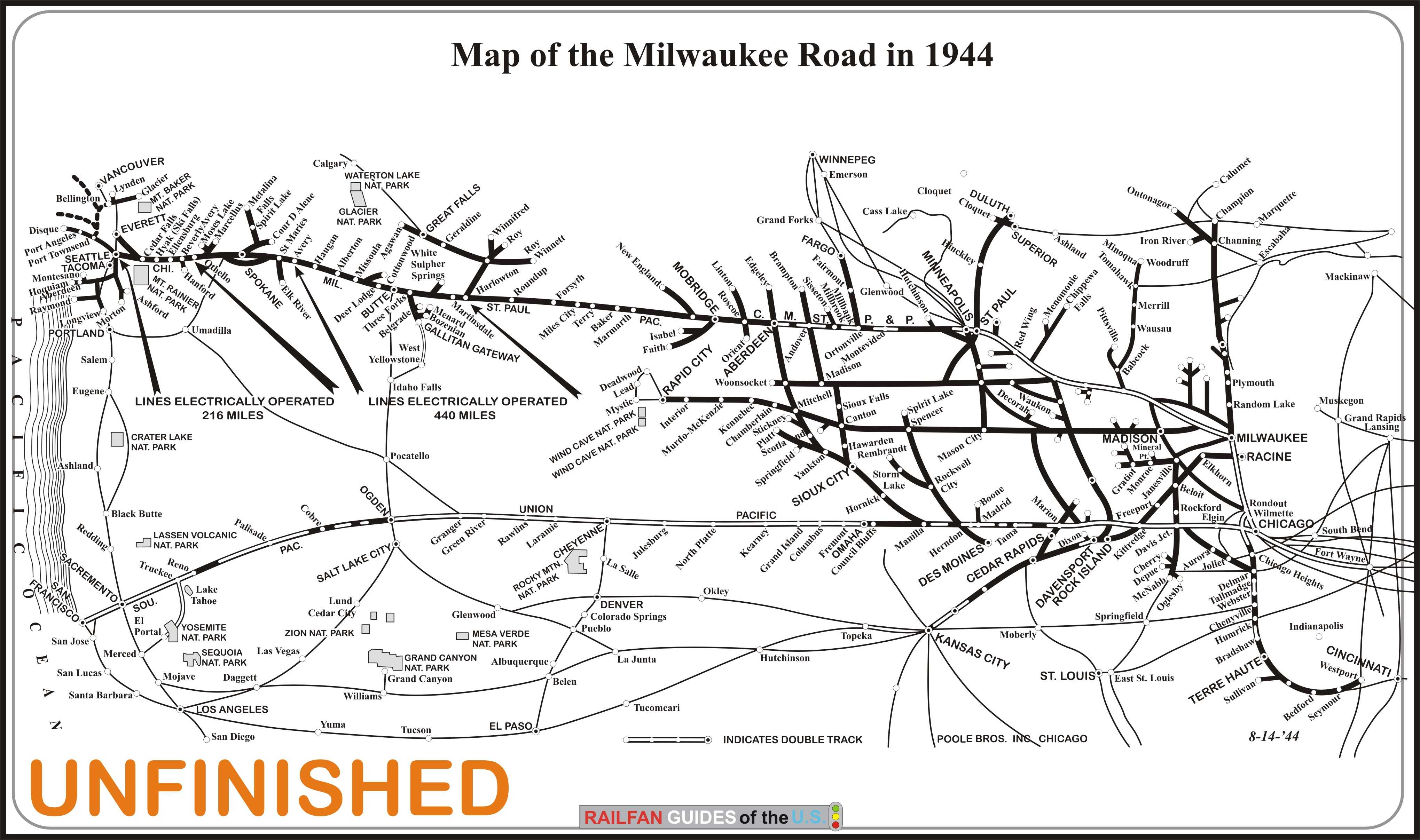 The Milwaukee Road MILW System Map