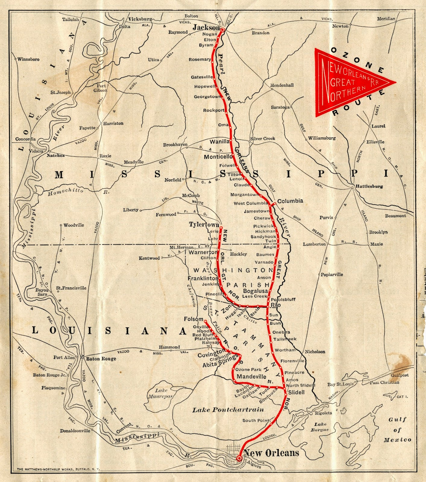 the New Orleans Great Northern RR System Map