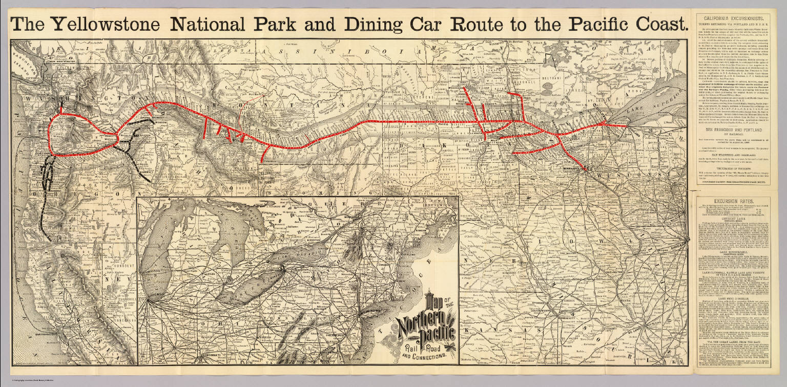 Northern Pacific Railroad System Map 1900