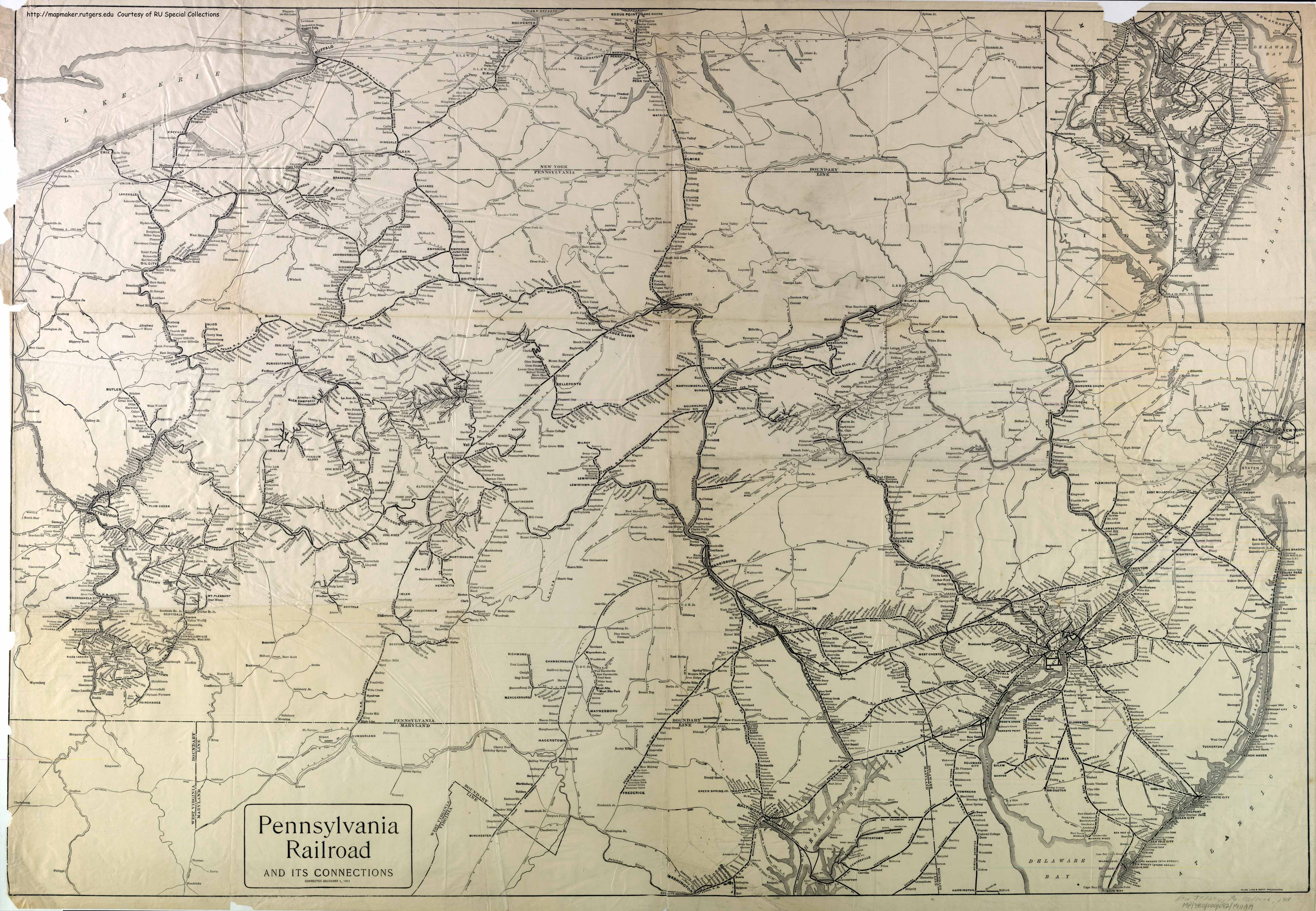Pennsylvania RR System Map - Old us railroad map