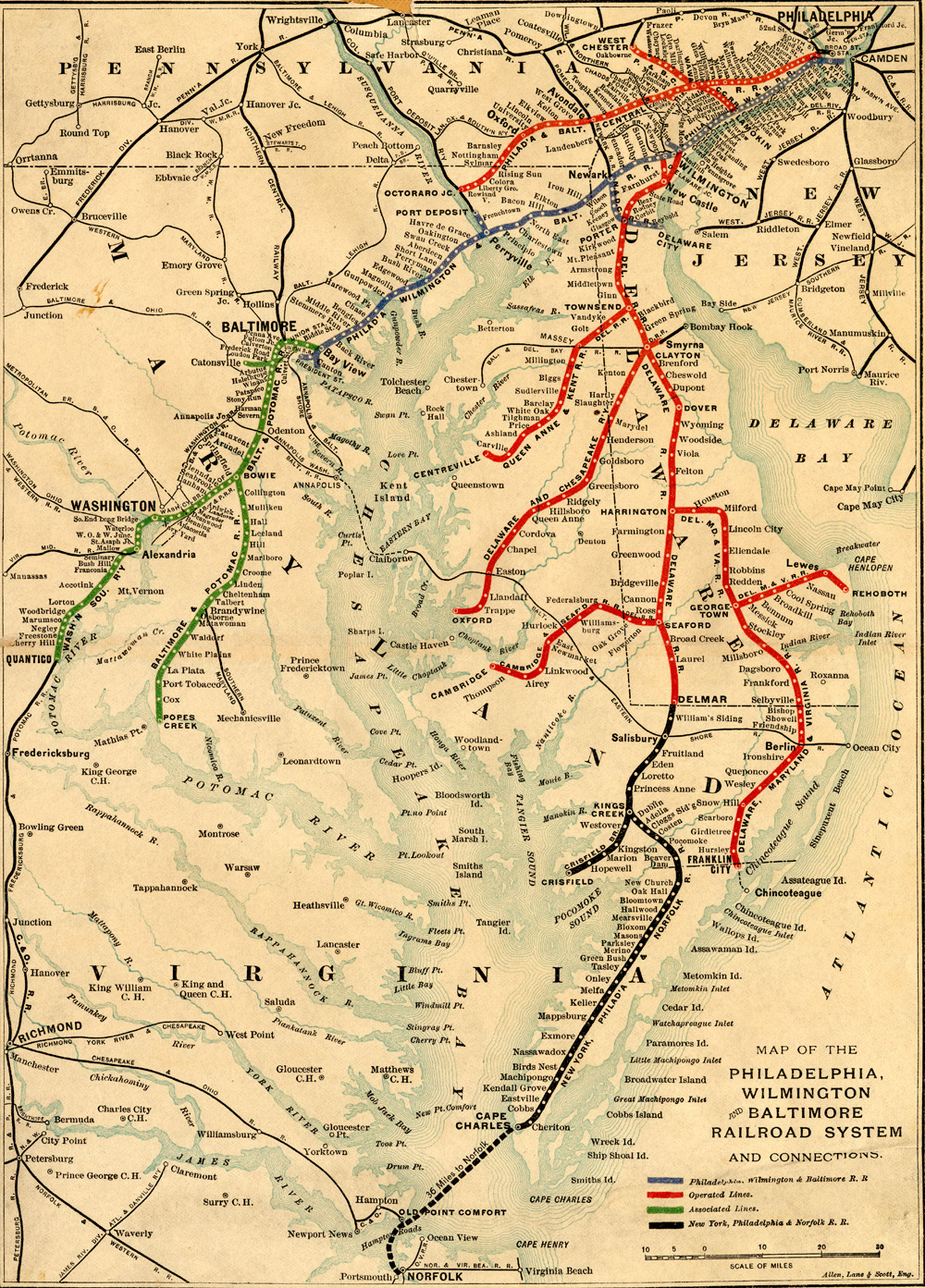 Philadelphia Wilmington Baltmore RR System Maps - Wilmington on us map