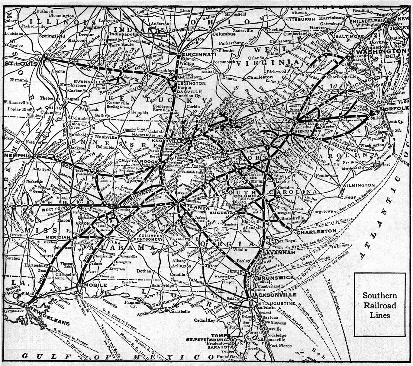 The Southern Railway System Maps - Southern railway us map