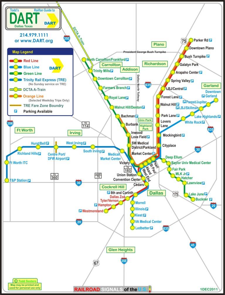 Dallas TX DART\'s Light Rail System
