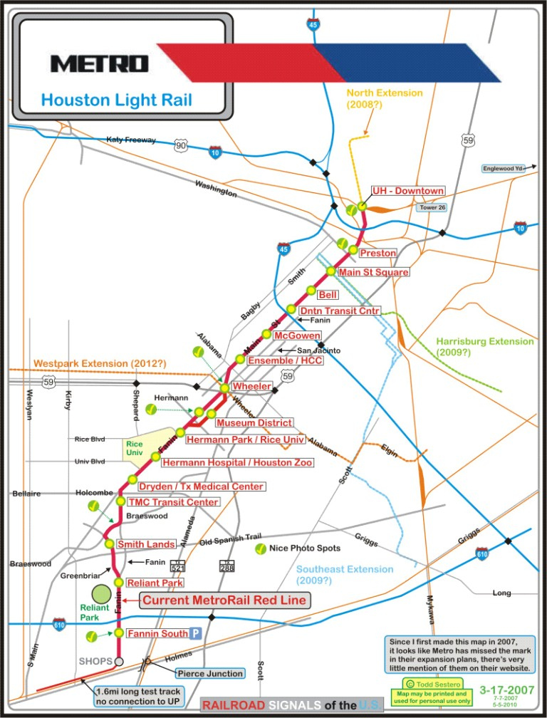 Houston Light Rail Map Indiana Map - Metro rail houston map