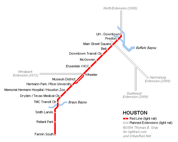 the Houston Light Rail System
