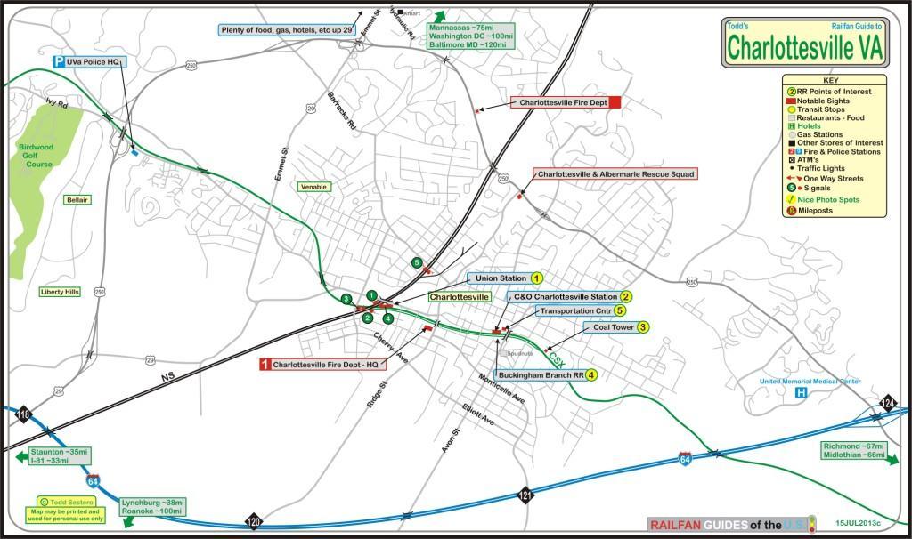 Charlottesville VA Railfan Guide - Us train track map