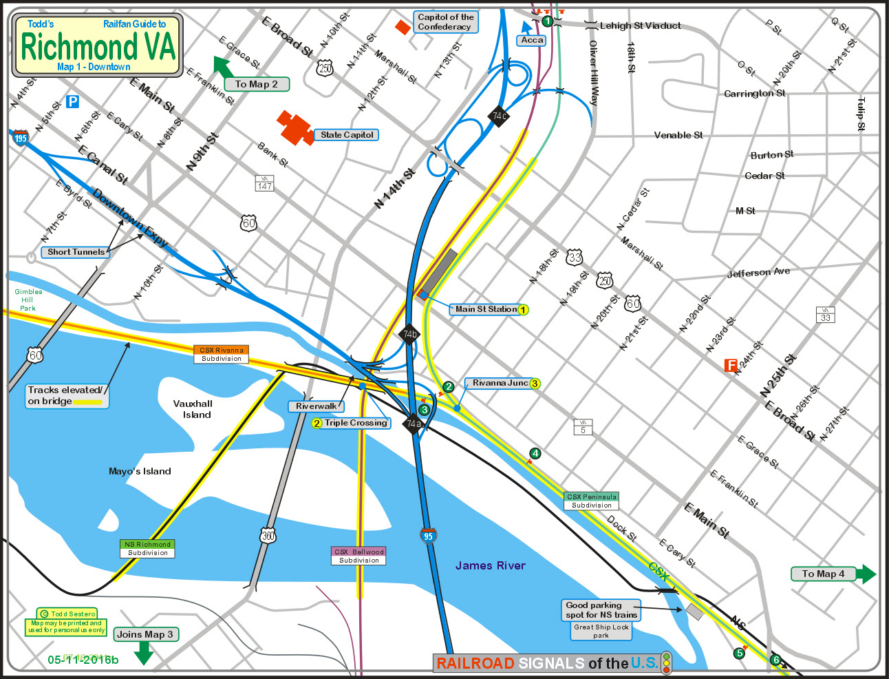 railfan guide to richmond va  downtown - for the map in pdf form click here