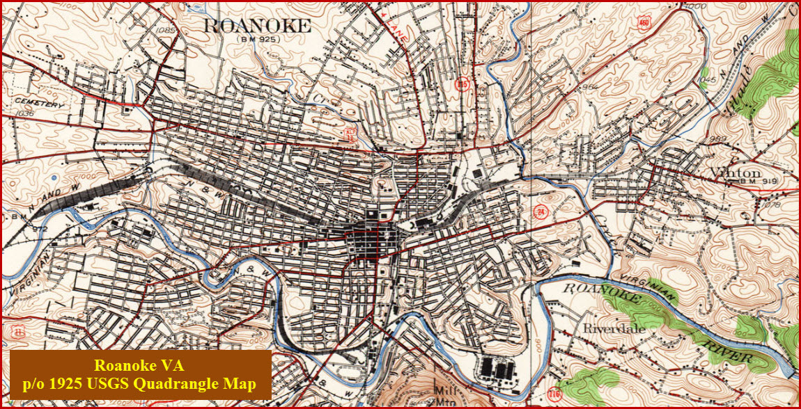 Below 1888 Usgs Map Of Roanoke Again From The Univ Of Texas Collection