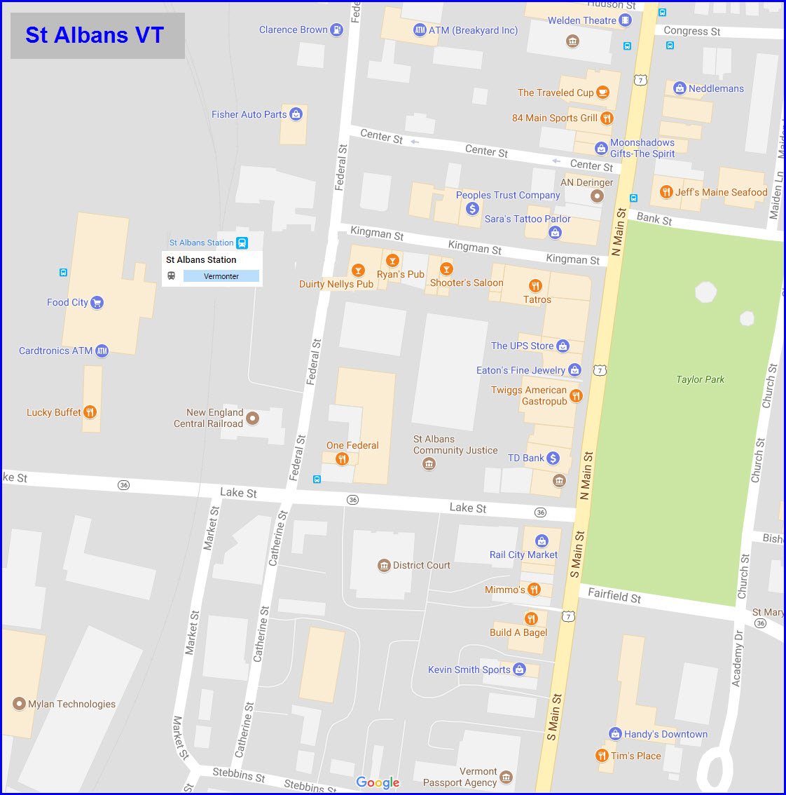 St Albans VT Railfan Guide